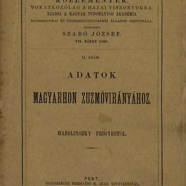 Adatok Mygyarhon Zuzmóvirányához - Hazslinszky, Frigyes Ákos