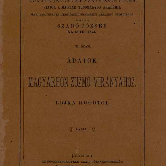 Adatok Magyarhon Zuzmó-Virányához - Lojka, Hugó