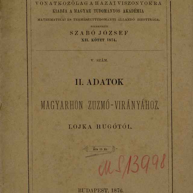 II. Adatok Magyarhon Zuzmó-Virányához - Lojka, Hugó