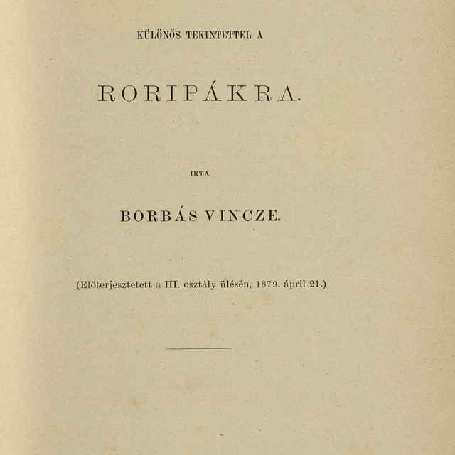 Floristicai Adatok Különös Tekintettel A Roripákra - Borbás, Vincze