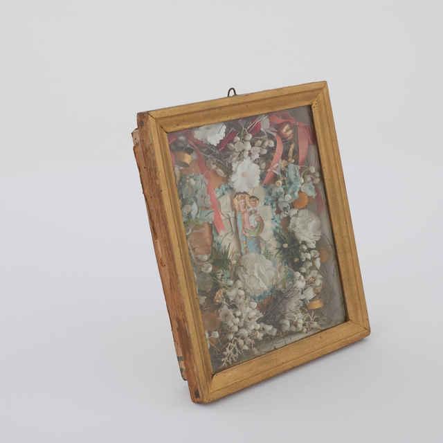 Obraz - Madona s kvetmi a stužkami, drevený kazetový rám, 22,3x26,4cm