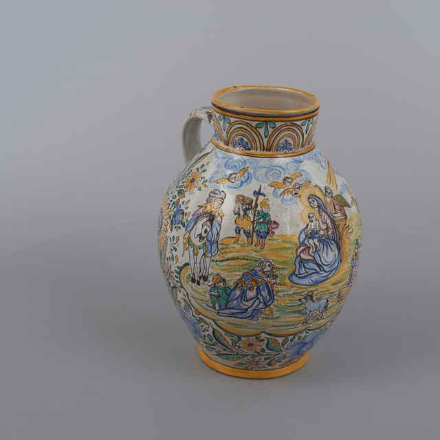 Džbán - habánsky tvar, šedobiela poleva, Klaňanie troch kráľov, kvet. dekor, zn. ST, v. 33cm