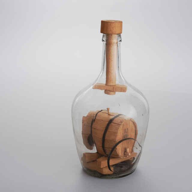 Fľaša - vkladačka, súdok na víno, drevo , sklo