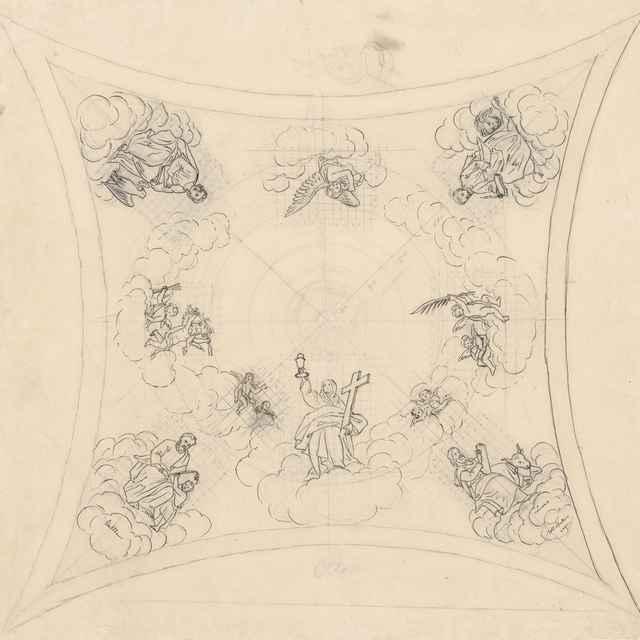 Návrh na stropnú maľbu s motívom štyroch evanjelistov - Švestka, Konrád