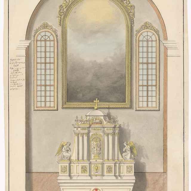 Návrh na hlavný oltár, oltárne rámy a bočné okná pre farský kostol v Užhorode - Švestka, Konrád