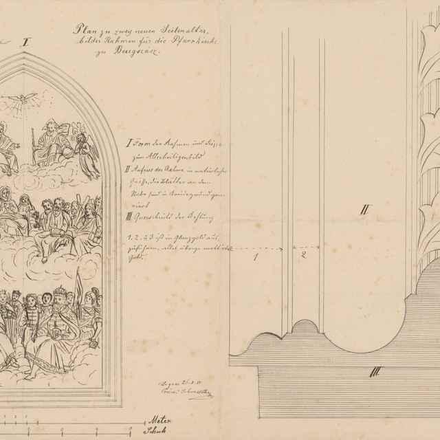 Plán na dva oltáre (bočný oltár) a rámy pre farský kostol v Berehovciach - Švestka, Konrád