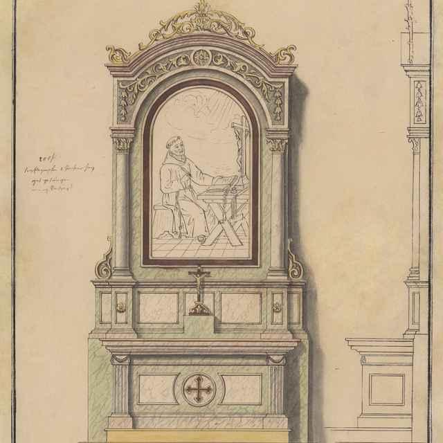 Návrh na nový bočný Oltár sv. Petra z Alkantry pre františkánsky Kostol sv. Jána Krstiteľa v Bardejove - Švestka, Konrád