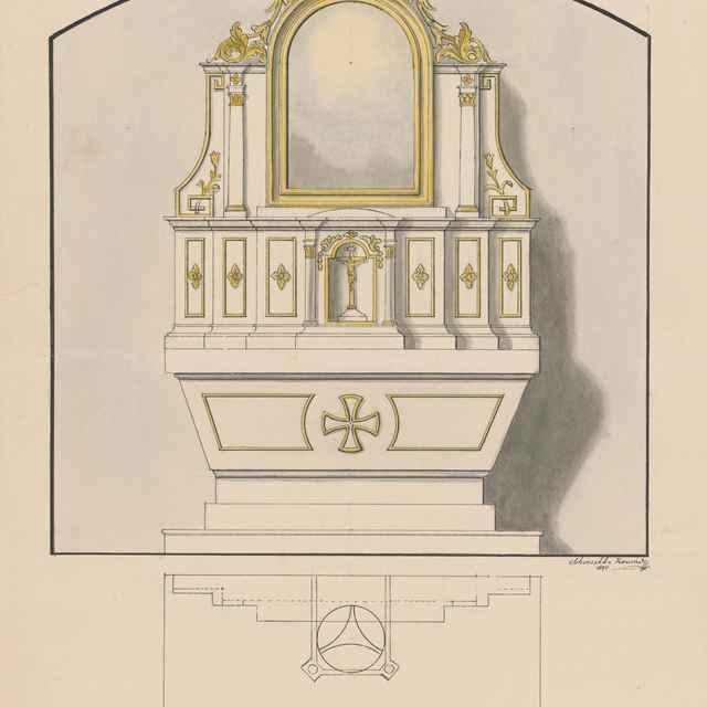 Návrh na oltár pre kaplnku - Švestka, Konrád