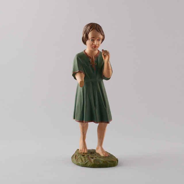 Betlehem drevený, vyrezávaný z 96 ks. príslušenstva - Mladý chlapec (34 ks. - drev. fig. plastík - á 50,-Kčs, 61 ks. - drev. ovce a iné zvieratá - á 10,-Kčs) - neznámy