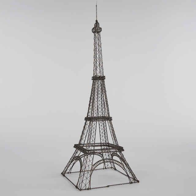 Model Eiffelovej veže, drotárska práca, autor: Štefan Smržík, 20. stor.