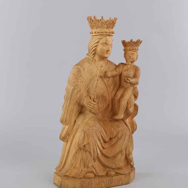 Plastika drevená - Madona s Ježiškom, R - výška: 80 cm
