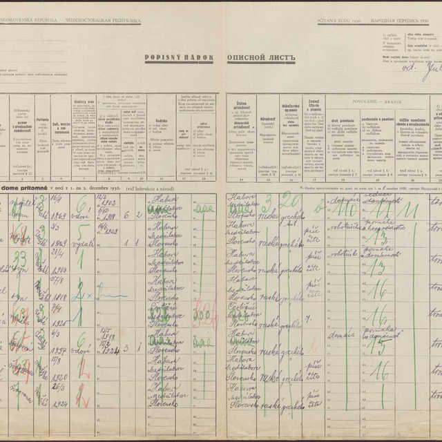 Sčítací hárok 539/252, - 184, Habura (Medzilaborce)