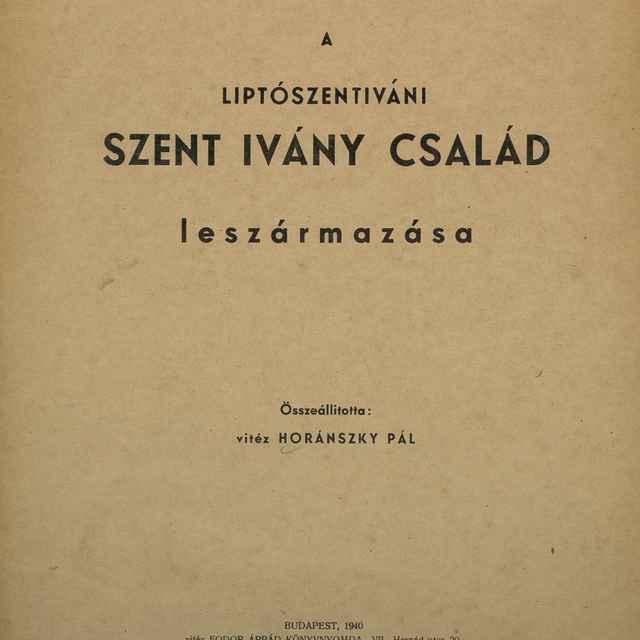 A Liptoszentiváni Szent Ivány Család leszármazása - Horánszky, Pál