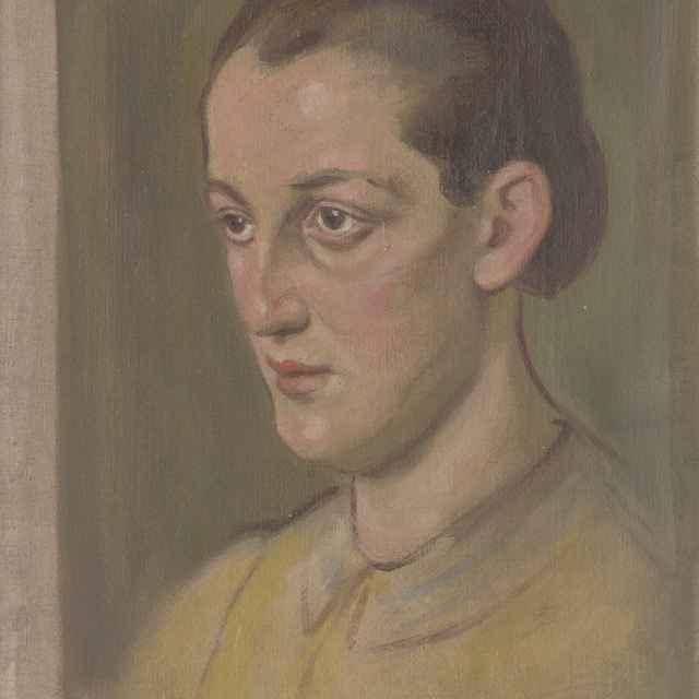 Hlava mladej ženy v žltej blúzke - Mitrovský, Milan Thomka