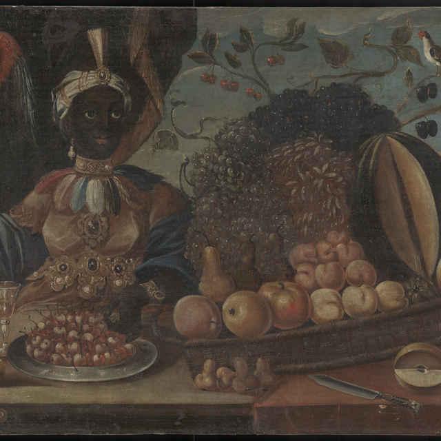 Zátišie s ovocím a černoškom - neznámy (osobné meno)