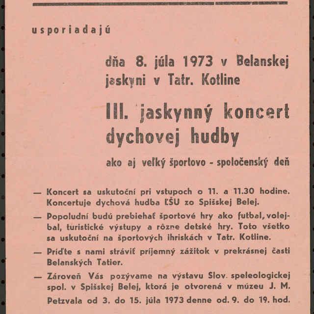 <u>Plagát</u> &quot;Jaskynný koncert dychovej hudby v Belianskej <u>jaskyni</u> 1973&quot;