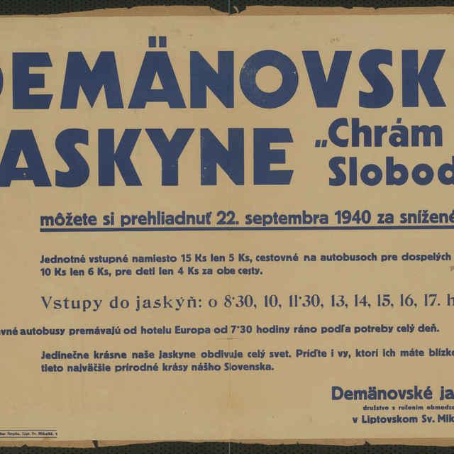 <u>Plagát</u> Demänovské <u>jaskyne</u> Chrám Slobody