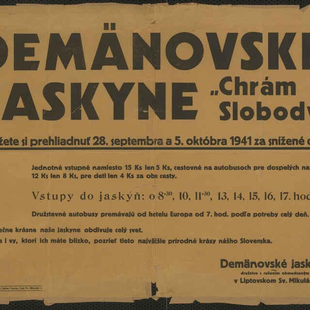 "Plagát Demänovské jaskyne ""Chrám Slobody"""