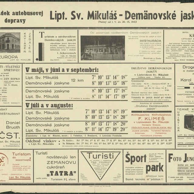 Plagát Poriadok autobusovej dopravy Liptovský Sv. Mikuláš - Demänovské jaskyne 1933