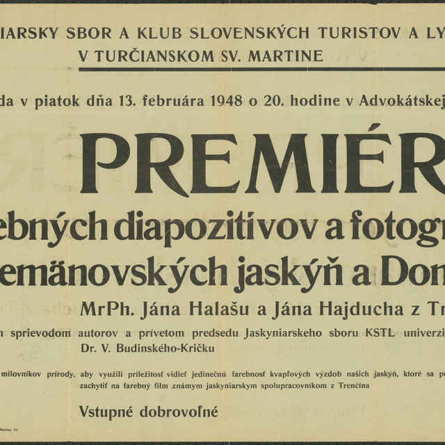 <u>Plagát</u> Pozvánka na premiéru farebných diapozitívov a fotografií z Demänovských <u>jaskýň</u> a Domice