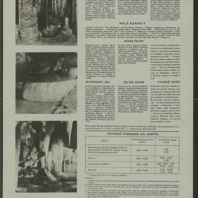 Plagát Slovenské jaskyne vstupný poriadok 1957