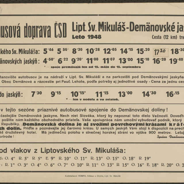 <u>Plagát</u> Autobusová doprava ČSD Liptovský Sv. Mikuláš - Demänovské <u>jaskyne</u> Leto 1948