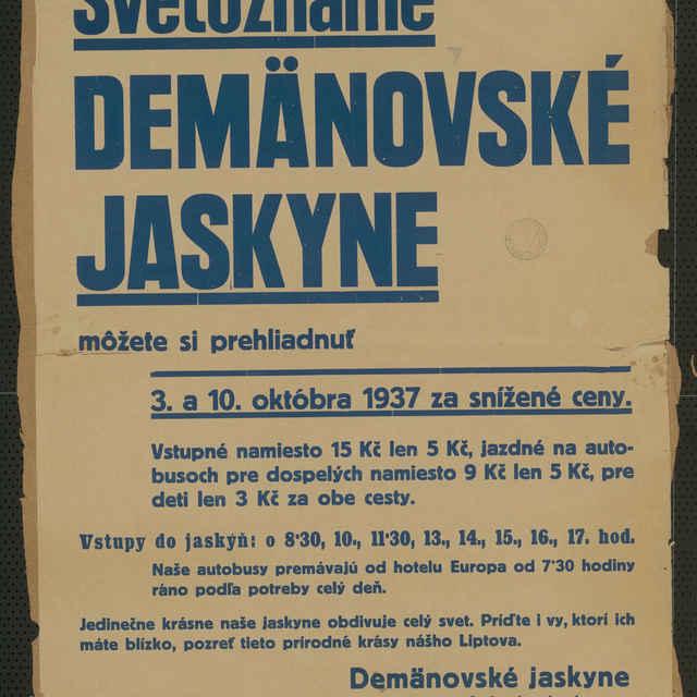 <u>Plagát</u> Svetoznáme Demänovské <u>jaskyne</u>