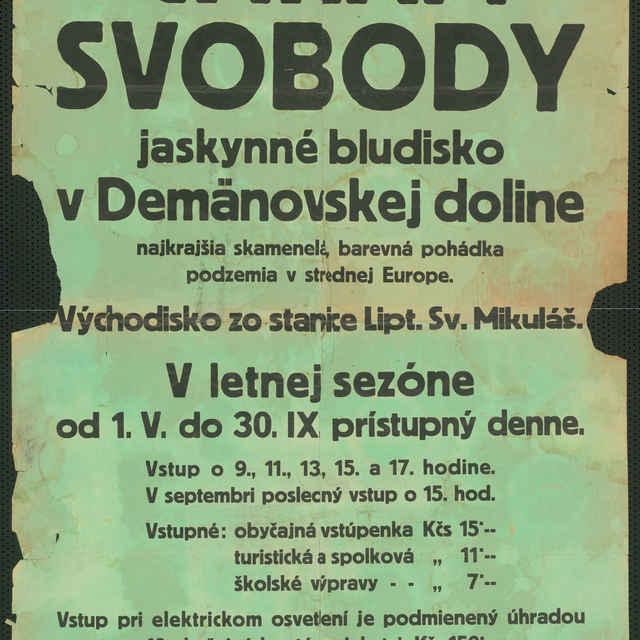 Plagát Demänovská jaskyňa slobody