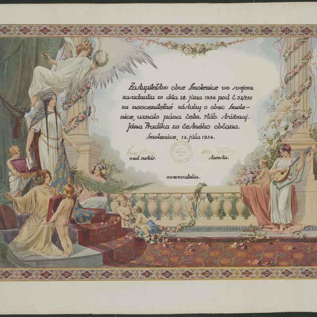 Diplom udelený Jánovi Prúdikovi