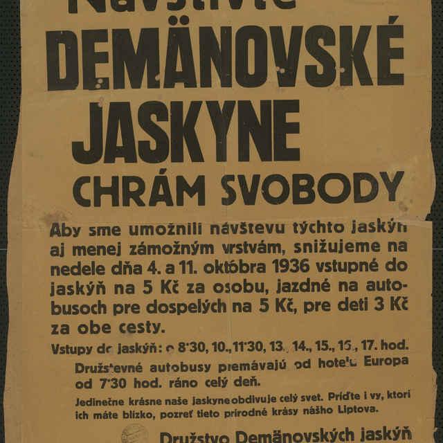 <u>Plagát</u> Navštívte Demänovské <u>jaskyne</u> Chrám Svobody