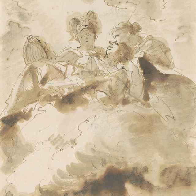 Trojfigurová kompozícia v mrakoch - Tiepolo, Giovanni Batista