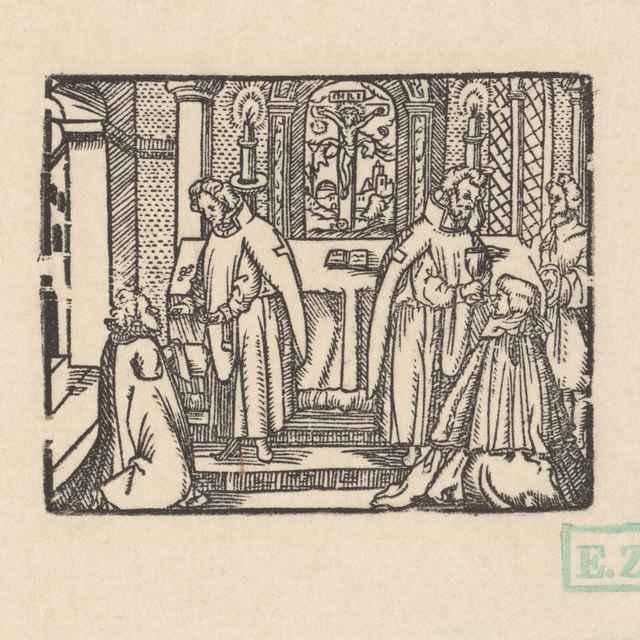 Prijímanie chleba a vína - Stredoeurópski, pravdepodobne českí kopisti Husovej Postylly z roku 1564