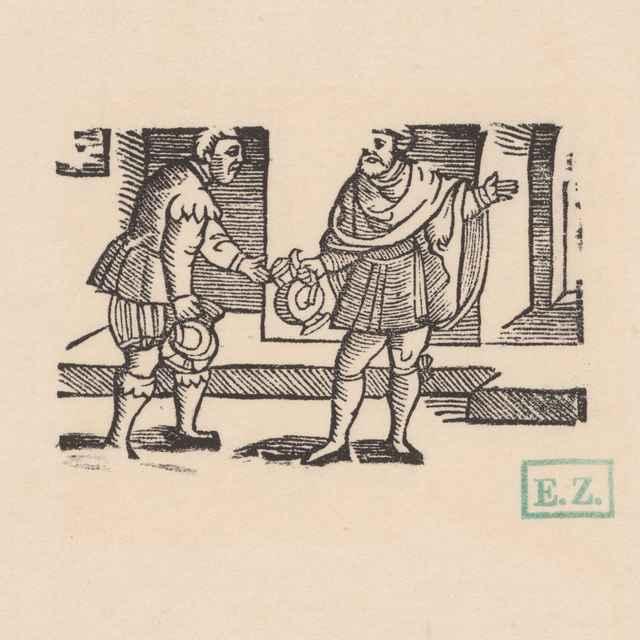 Eilešpígel mení s lakomým čašníkom vodu za víno - Norimberskí kopisti frankfurtského vydania Dyl Vlenspiegel