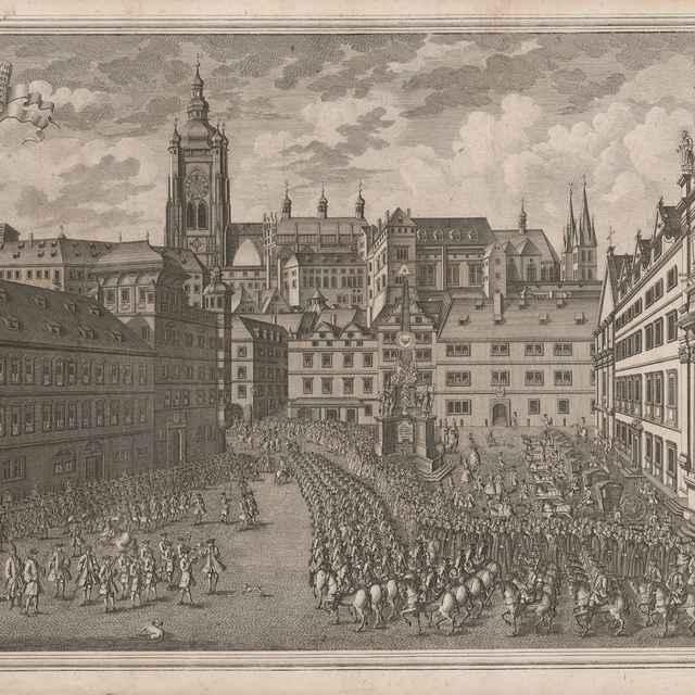 Slávnostný pochod vojsk cez Malostranské námestie pri príležitosti korunovácie Márie Terézie za českú kráľovnú v Prahe v roku 1743 - Dietzler, Johann Joseph