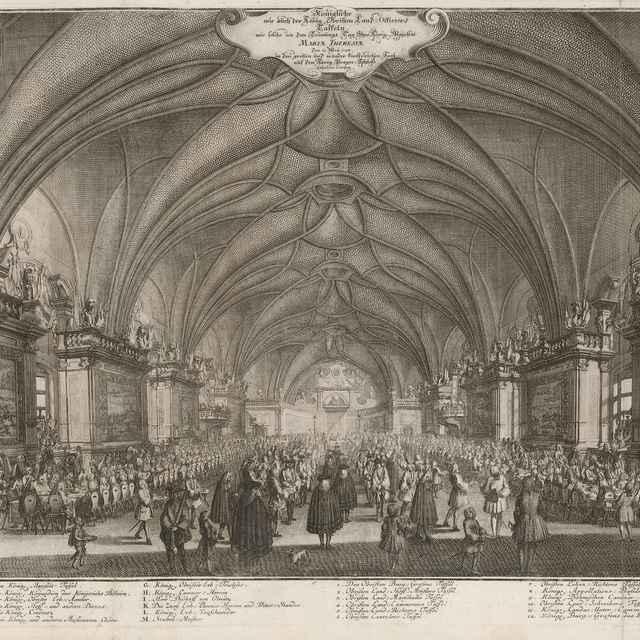 Kráľovská hostina konaná v deň korunovácie Márie Terézie 12. mája 1743 vo Vladislavskom sále Pražského hradu - Dietzler, Johann Joseph