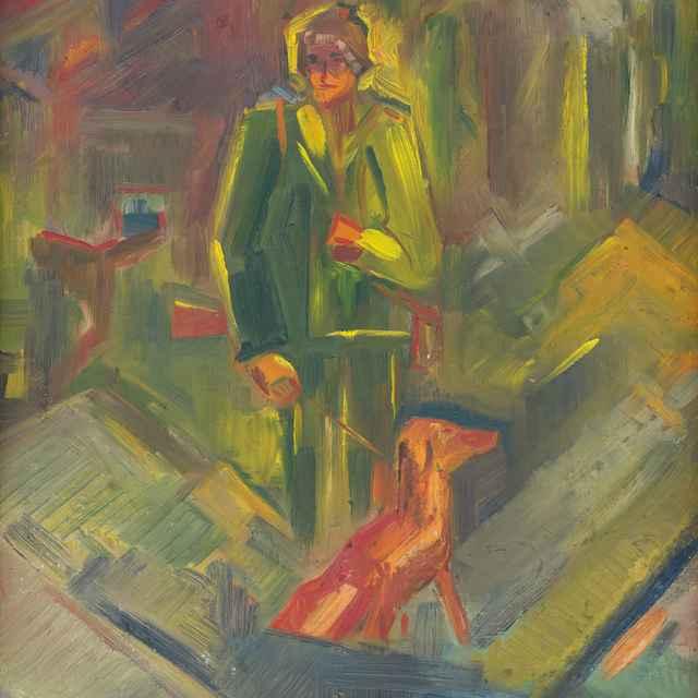 Stojaci poľovník so psom - Weisz-Kubínčan, Arnold Peter