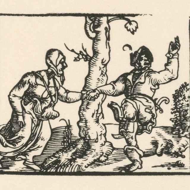 Tanec sedliackeho páru - Nemecký grafik z 1. polovice 16. storočia