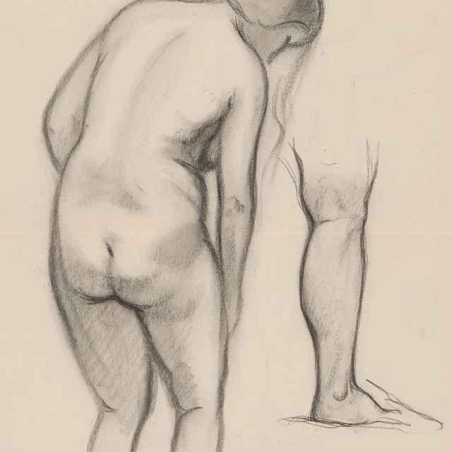 Zohnutý ženský akt s nohou - Galanda, Mikuláš