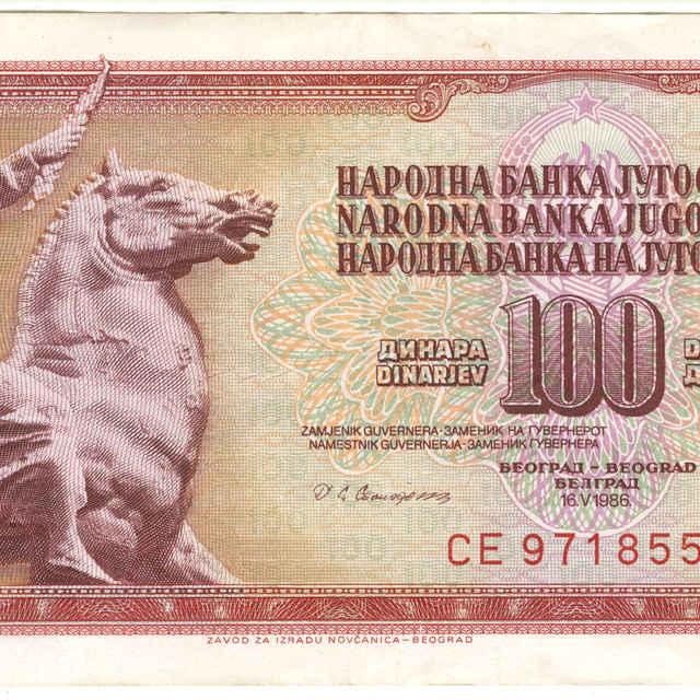 Bankovka 100 dinara (fauna)