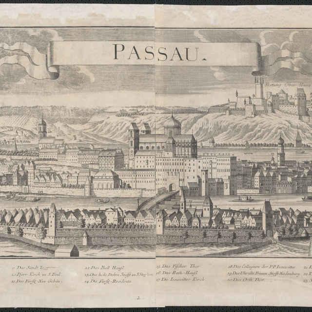 Obraz, Passau. (Pasov), veduta, autori: Johann Friedrich Probst, Friedrich Bernhard Werner, Jeremias Wolff, grafika, r.1732-1750 - Werner, Friedrich Bernhard