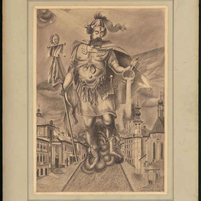 Grafický list, Apoteóza sv. Floriána, uhľokresba, 1901 - Tandler, Gyula
