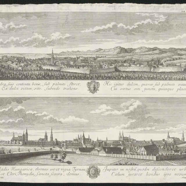 Veduta mesta Modry a Trnavy od Samule Mikovíniho, medirytina, 1737 - Mikovíni, Samuel