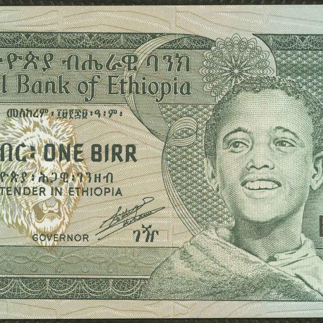 Bankovka 1 birr (fauna, krajina)