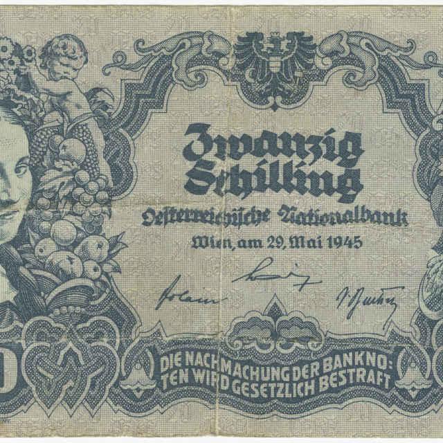 Bankovka 20 Schilling (flóra, poľné práce)