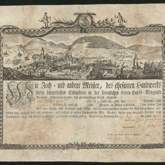 Vyučný list Danka Zirtu, medirytina, 1806 - neznámy (osobné meno)