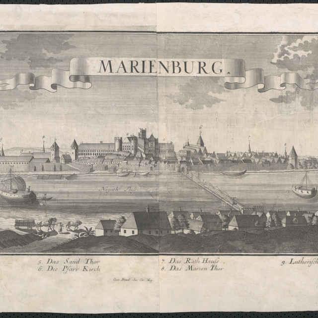 Obraz, Marienburg. (Malborg), veduta, autori: Friedrich Bernhard Werner, Jeremias Wolff, grafika, okolo r.1728-1750 - Vydavateľstvo Jeremiasa Wolffa v Augsburgu