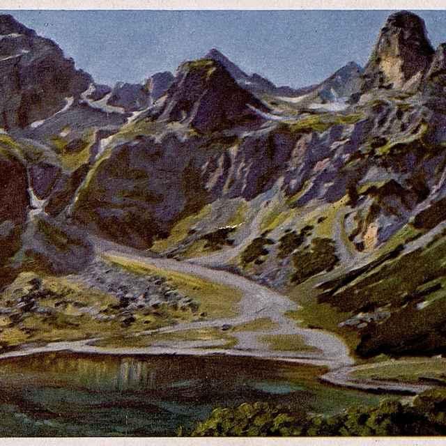 Zelené pleso s pozadím Kriváňa 2496 m a Krátkej dľa orig. E. Kosy
