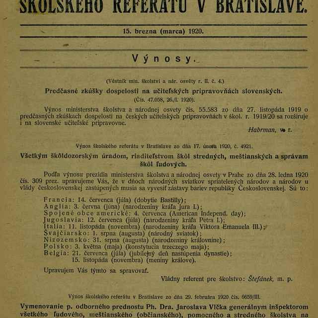 Zprávy školského referátu v Bratislave - Text