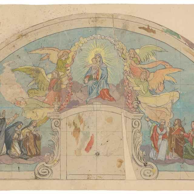 Madona s dieťaťom, návrh klenovej maľby kostola vo Višňovom - Hanula, Jozef