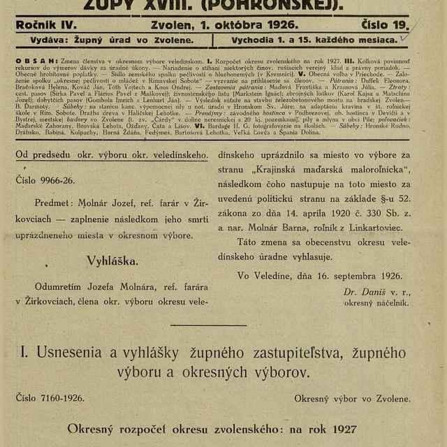 Úradné noviny župy XVIII - Text